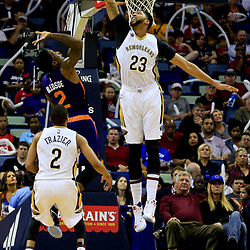 Nov 4, 2016; New Orleans, LA, USA; Phoenix Suns guard Eric Bledsoe (2) shoots over New Orleans Pelicans forward Anthony Davis (23) during the first quarter of a game at the Smoothie King Center. Mandatory Credit: Derick E. Hingle-USA TODAY Sports