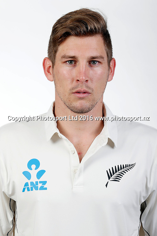 George Worker, New Zealand Black Caps test match headshots for the 2016/17 cricket season. Pullman Hotel, Auckland. 9 November 2016. Copyright Image: William Booth / www.photosport.nz
