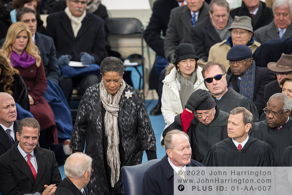 Myrlie Evers-Williams heads to the podium to address the 57th Presidential Inauguration of President Barack Obama at the U.S. Capitol Building in Washington, DC January 21, 2013.