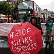 Protesters blockade roundabout of Trafalgar square 'Stop Killing Londoners'