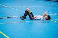 ARNHEM -  halve finales NK competitie  zaalhockey  junioren. Amsterdam JB1- Nijmegen JB1 . Nijmegen plaats zich voor de finale. teleurstelling Amsterdam. .   COPYRIGHT  KOEN SUYK