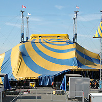 The Crew from Cirque du Soleil  raise  the blue and yellow Grand Chapiteau (Big Top) at the Santa Monica Pier on Tuesday, January 10, 2012.