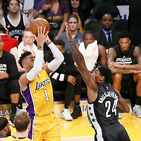 15 November 2016: Los Angeles Lakers guard D'Angelo Russell (1) takes a jump shot over Brooklyn Nets forward Rondae Hollis-Jefferson (24) during the LA Lakers 125-118 victory over the Brooklyn Nets, at the Staples Center, Los Angeles, California, USA.