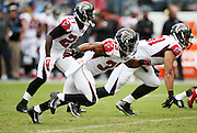 Atlanta Falcons running back Terron Ward (33) rushes during the 2015 week 7 regular season NFL football game against the Tennessee Titans on Sunday, Oct. 25, 2015 in Nashville, Tenn. The Falcons won the game 10-7. (©Paul Anthony Spinelli)