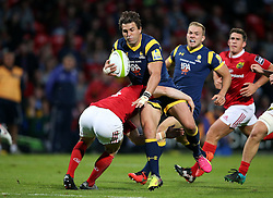 Darren Sweetnam of Munster Rugby tackles Max Stelling of Worcester Warriors<br /> <br /> Mandatory by-line: Cathal Noonan/JMP - 26/8/2016 - RUGBY - Irish Independent Park - Cork, - Munster v Worcester - Pre-Season Friendly