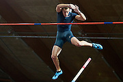 Renaud Lavillenie of France competes men's pole vault during athletics meeting Pedro's Cup 2014 2014 at Luczniczka Hall in Bydgoszcz, Poland.<br /> <br /> Poland, Bydgoszcz, January 31, 2014.<br /> <br /> Picture also available in RAW (NEF) or TIFF format on special request.<br /> <br /> For editorial use only. Any commercial or promotional use requires permission.<br /> <br /> Mandatory credit:<br /> Photo by &copy; Adam Nurkiewicz / Mediasport