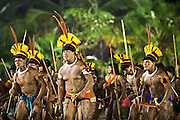 Yawalapiti People, from Xingu, dancing during the Indigenous National Festival.