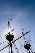 Detail of Masts of Mayflower 2, Plymouth, USA