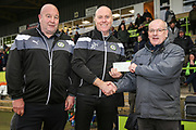 Cheque presentation for FGR ladies during the EFL Sky Bet League 2 match between Forest Green Rovers and Mansfield Town at the New Lawn, Forest Green, United Kingdom on 24 March 2018. Picture by Shane Healey.