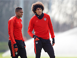 MANCHESTER, ENGLAND - Wednesday, March 16, 2016: Manchester United's Marouane Fellaini and Antonio Valencia during a training session at Carrington Training Ground ahead of the UEFA Europa League Round of 16 2nd Leg match against Liverpool. (Pic by David Rawcliffe/Propaganda)