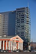 Mongolia. Ulaanbaatar. Sukhbaatar square, the city center of  Ulaanbaatar,  and the opera building. Mongolia