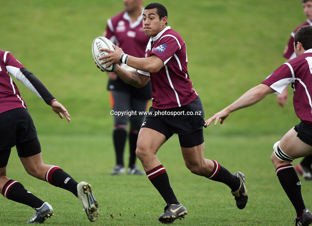 George Pisi during North Harbour rugby training at the Marist Club grounds, North Shore, New Zealand on Wednesday 30 August, 2006. Photo: Hannah Johnston/PHOTOSPORT<br /><br /><br /><br />300806