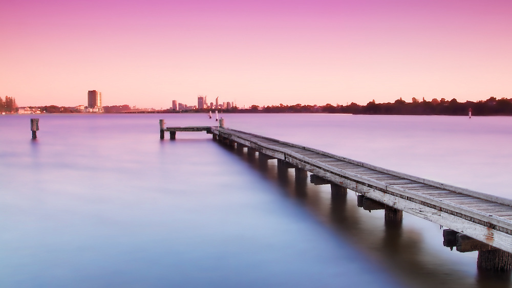 Deep Water Point Jetty looking towards Perth City at Sunrise
