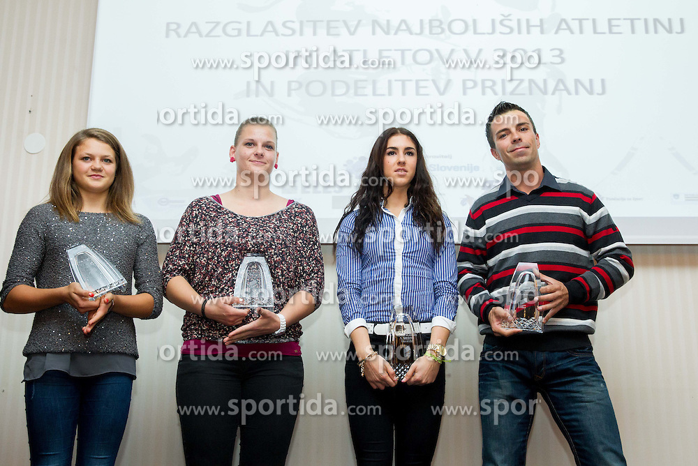 Leda Kroselj, Veronika Domjan, Tina Bozic with her coach Bostjan Fridrih during the Slovenia's Athlete of the year award ceremony by Slovenian Athletics Federation AZS on November 8, 2013 in Grand Hotel Toplice, Bled, Slovenia. Photo by Vid Ponikvar / Sportida