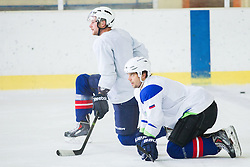Jan Urbas and David Rodman during practice session with Anze Kopitar, NHL star and player of Los Angeles Kings before departure to USA, on September 3, 2014 in Ledna dvorana Bled, Slovenia. Photo by Vid Ponikvar  / Sportida.com