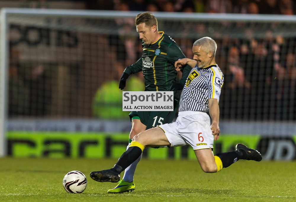 Kris Commons is tackled by Jim Goodwin during the Scottish Premiership match between St Mirren and Celtic (c) ROSS EAGLESHAM | Sportpix.co.uk
