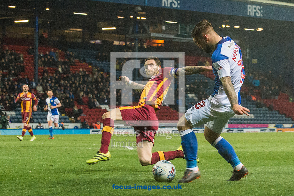 Adam Armstrong of Blackburn Rovers gets a cross in ahead of Romain Vincelot of Bradford City during the Sky Bet League 1 match at Ewood Park, Blackburn<br /> Picture by Matt Wilkinson/Focus Images Ltd 07814 960751<br /> 29/03/2018