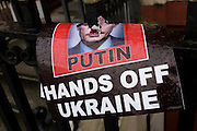The head of Russian President Vladimir Putin, impaled on a railing spike opposite the Russian embassy after a Ukraine crisis protest.