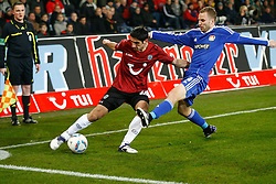 10.12.2011, AWD Arena, Hannover, GER, 1.FBL, Hannover 96 vs Bayer 04 Leverkusen, im Bild Lars Stindl (Hannover #28) und Bastian Oczipka (Leverkusen #4) // during the Match GER, 1.FBL, Hannover 96 vs Hamburger SV,  AWD Arena, Hannover, Germany, on 2011/12/10,.EXPA Pictures © 2011, PhotoCredit: EXPA/ nph/ Schrader..***** ATTENTION - OUT OF GER, CRO *****