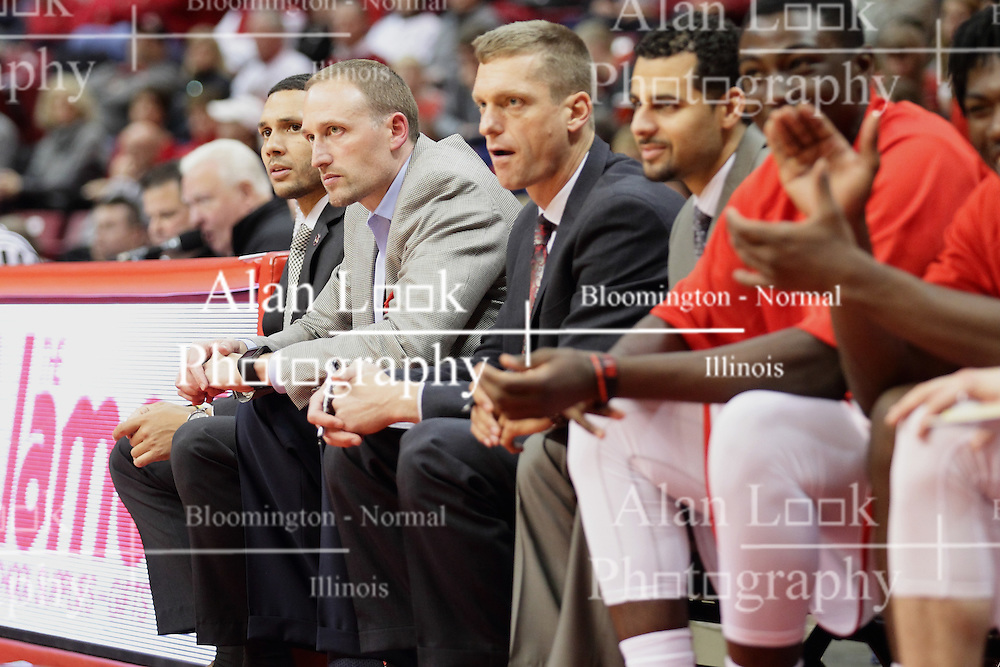 21 November 2015: Coaches Jeremy Ballard, Dan Muller, Luke Yaklich and Dean Oliver. Illinois State Redbirds host the Houston Baptist Huskies at Redbird Arena in Normal Illinois (Photo by Alan Look)