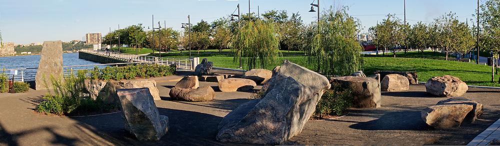 Hudson River Park, Chelsea,.Pier 63, features Stonefield, by artist Meg Webster, Manhattan, New York City, New York, USA