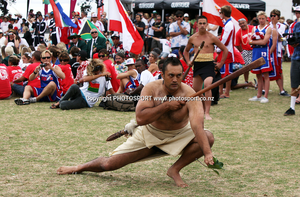 A Powhiri precedes the ceremony, The opening ceremony for the ISA Junior World Surfing Championships to be held at Piha. Mission Bay, Auckland. 20 January 2010. Photo: William Booth/PHOTOSPORT