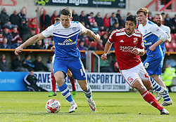 Peterborough United's Connor Washington in action with Swindon Town's Massimo Luongo - Photo mandatory by-line: Joe Dent/JMP - Mobile: 07966 386802 - 11/04/2015 - SPORT - Football - Swindon - County Ground - Swindon Town v Peterborough United - Sky Bet League One