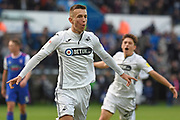 Swansea City midfielder Bersant Celina (10) scores a goal 2-2 and celebrates during the EFL Sky Bet Championship match between Swansea City and Ipswich Town at the Liberty Stadium, Swansea, Wales on 6 October 2018.