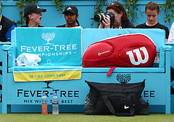 June 19, 2018 - United Kingdom - Fever-Tree Championships Towel.during Fever-Tree Championships 1st Round match between Damir Dzhumur (BIH) against Grigor Dimitrov (BUL) at The Queen's Club, London, on 19 June 2018  (Credit Image: © Kieran Galvin/NurPhoto via ZUMA Press)