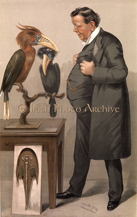 Edwin Ray  Lankester (1847-1929), British zoologist who established clear morphological distinctions in different orders of invertebrates, demonstrating that they had different origins.  Cartoon by 'Spy' (Leslie Ward) from 'Vanity Fair'. (London, 12 January 1905). It was published with the legend that 'His religion is the worship of all sorts of winged and finny things'. Chromolithograph