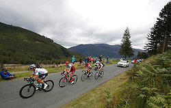 A break-away group lead by (left-right) Team Sky's Vasil Kiriyenka and Team Katusha Alpecin's Tony Martin climb Whinlatter Pass for the first time, during stage six of the Ovo Energy Tour of Britain 2018 from Barrow-in-Furness to Whinlatter Pass. PRESS ASSOCIATION Photo. Picture date: Friday September 7, 2018. See PA story CYCLING Tour of Britain. Photo credit should read: Martin Rickett/PA Wire