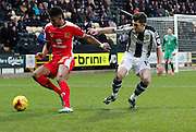 Jordan Spence and Ronan Murray during the Sky Bet League 1 match between Notts County and Milton Keynes Dons at Meadow Lane, Nottingham, England on 26 December 2014. Photo by Jodie Minter.