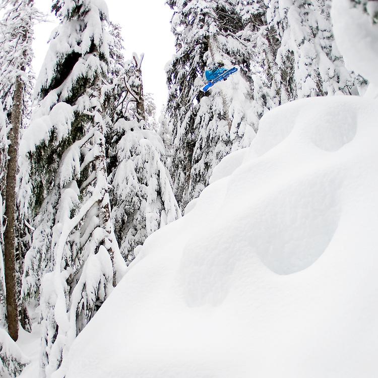 Professional snowboarder Mark Landvik near Mt. Baker, Washington.