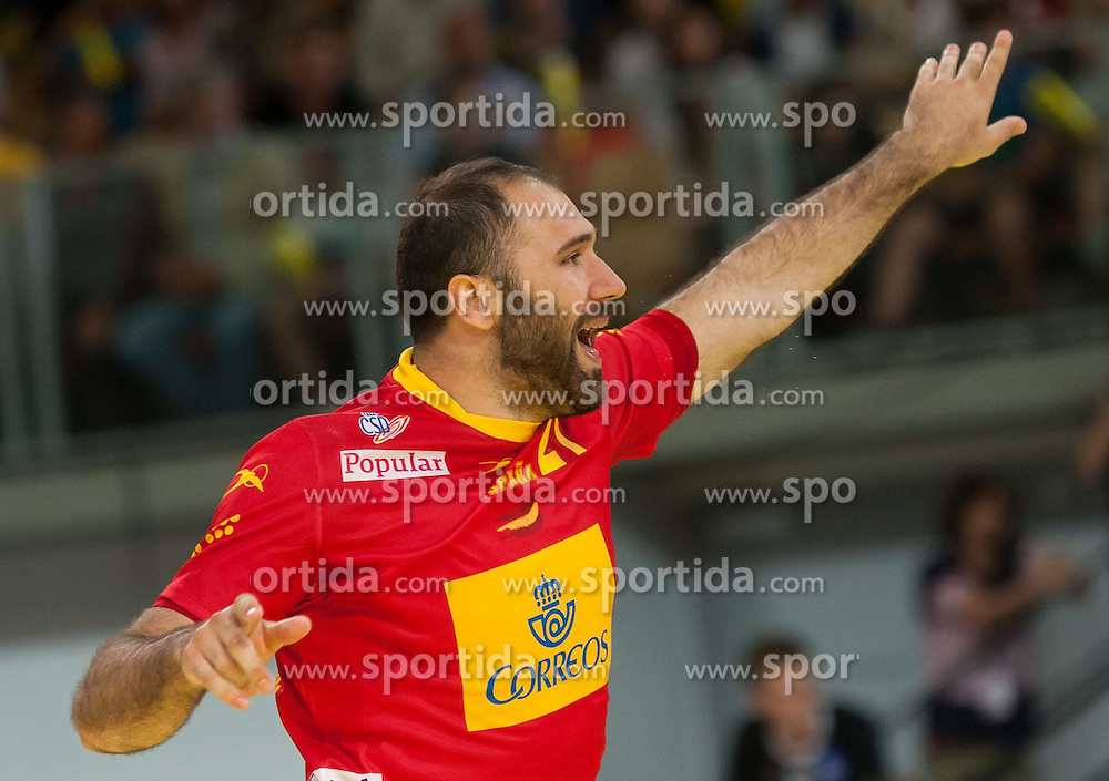 10.06.2015, Olympiahalle, Innsbruck, AUT, EHF Euro Qualifikation, Gruppe 7, Österreich vs Spanien, im Bild Joan Canellas Reixach (ESP) // during the EHF Euro Qualifikation group 7 match between Austria and Spain at Olympiahalle, Innsbruck, Austria on 2015/06/10. EXPA Pictures © 2015, PhotoCredit: EXPA/ Jakob Gruber