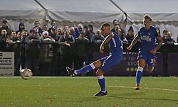 Joe Ward of Peterborough United scores his sides third goal of the game - Mandatory by-line: Joe Dent/JMP - 10/11/2018 - FOOTBALL - Hayes Lane - Bromley, England - Bromley v Peterborough United - Emirates FA Cup first round proper
