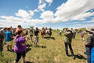 Battle of the Little Bighorn Reenactment,<br /> Custers Last Stand, Crow Indian Reservation, Montana, spectators, re-enactors
