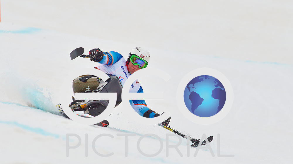 Alpine Skiing: Men's Super G: 2014 Sochi Winter Paralympics: Thomas JACOBSEN  of Norway in action during Men's Super G at the Rosa Khutor Alpine Centre; Krasnaya Polyana, Russia 09/03/2014;<br /> PHOTO CREDIT: &copy; George S Blonsky