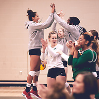 5th year outside hitter, Leah Sywank (3) of the Regina Cougars during the Women's Volleyball pre-season game on Sat Sep 22 at Centre for Kinesiology, Health & Sport. Credit: Arthur Ward/Arthur Images
