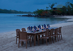 Lanterns Lit for Twilight Beach Dinner, Turtle Island, Yasawa Islands, Fiji