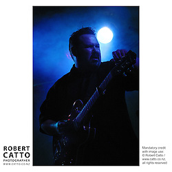 Bluesman Darren Watson performs at the Botanic Garden Soundshell during Wellington's Summer City, New Zealand.