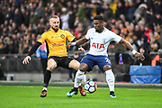 Tottenham Hotspur Defender Serge Aurier (24) and Newport County Defender Dan Butler (3) battle for the ball during the The FA Cup 4th round replay match between Tottenham Hotspur and Newport County at Wembley Stadium, London, England on 7 February 2018. Picture by Stephen Wright.
