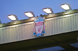 LIVERPOOL, ENGLAND - Saturday, January 26, 2008: The Liverpool club crest illuminated by floodlights hangs on the top of the Centenary Stand during the FA Cup 4th Round match against  Havant and Waterlooville at Anfield. (Photo by David Rawcliffe/Propaganda)