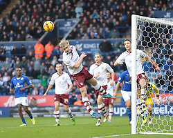 Burnley's Ben Mee heads clear - Photo mandatory by-line: Nigel Pitts-Drake/JMP - Tel: Mobile: 07966 386802 14/12/2013 - SPORT - Football - Leicester - King Power Stadium - Leicester City v Burnley - Sky Bet Championship