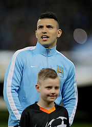 MANCHESTER, ENGLAND - Tuesday, March 15, 2016: Manchester City's Sergio Aguero before in the UEFA Champions League Round of 16 2nd Leg match against FC Dynamo Kyiv at the City of Manchester Stadium. (Pic by David Rawcliffe/Propaganda)