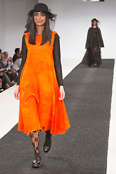 © Licensed to London News Pictures. 31/05/2015. London, UK. Collection by Victoria Barwood. Fashion show of Northumbria University (Newcastle) at Graduate Fashion Week 2015. Graduate Fashion Week takes place from 30 May to 2 June 2015 at the Old Truman Brewery, Brick Lane. Photo credit : Bettina Strenske/LNP