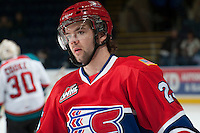 KELOWNA, CANADA - MARCH 5: Riley Whittingham #25 of the Spokane Chiefs warms up against the Kelowna Rockets on March 5, 2014 at Prospera Place in Kelowna, British Columbia, Canada.   (Photo by Marissa Baecker/Getty Images)  *** Local Caption *** Riley Whittingham;