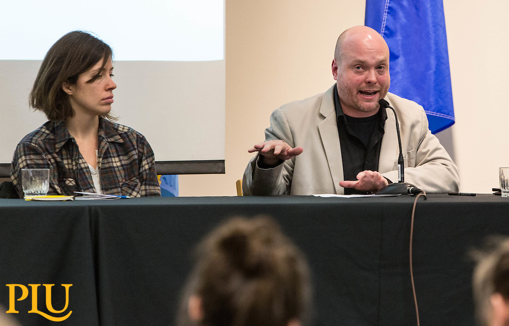 Holly Foster of Zestful Gardens, left, Anika Moran, Mother Earth Farm, center, and Prof. Michael Schleeter, Philosophy, take part on a panel for the Food Symposium sponsored by the Philosophy department of PLU on  Monday, Feb. 29, 2016. (Photo: John Froschauer/PLU)