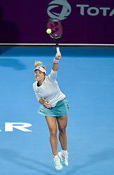 DOHA, Feb. 15, 2019  Angelique Kerber of Germany serves during the women's singles quarterfinal between Barbora Strycova of the Czech Republic and Angelique Kerber of Germany at the 2019 WTA Qatar Open in Doha, Qatar, Feb. 14, 2019. Angelique Kerber won 2-1. (Credit Image: © Nikku/Xinhua via ZUMA Wire)