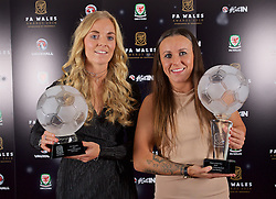 CARDIFF, WALES - Tuesday, November 8, 2016: Women's Players' Player of the Year Winner Sophie Ingle [L] and FAW Women's Player of the Year Winner Natasha Harding [R] during the FAW Awards Dinner at the Vale Resort. (Pic by David Rawcliffe/Propaganda)