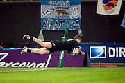 27.09.2014. TJ Perenara dives over for a try. Test Match Argentina vs All Blacks during the Rugby Championship at Estadio Único de la Plata, La Plata, Argentina.